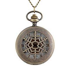 vindima grande circular flocos de neve oca de metal clamshell relógio de bolso mecânico colar de assistir (1pc)