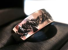 Mountains Ring, Wedding Bands Mountain, His and Her Promise Rings, Rose Gold Tungsten Rings, Wedding Bands Set, Nature Ring Matching Ring by RingsParadise on Etsy