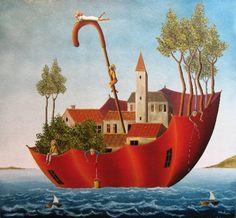 Il mondo di Mary Antony: L' arte naif di Issa Barbara Wagner Marie Cardouat, Le Vent Se Leve, Parasols, Umbrellas, Henri Rousseau, Umbrella Art, Surrealism Painting, Naive Art, Whimsical Art