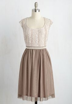 Mocha Maven Dress. Wear your love of fancy brews on your sleeve by donning this creamy, coffee-hued dress to your date at the espresso bar! #tan #modcloth