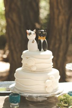 wedding cake with cat toppers! // photo by VentolaPhotography.com