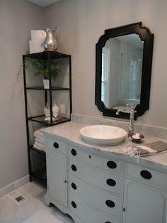 love the dresser & sink – toptrendpin. Bathroom Vanity Makeover, Dresser Sink, Double Vanity Bathroom, Bathroom Items, Bathroom Makeover, Timber Bathroom Vanities, Bathroom Design Inspiration, Bathroom Vanity, Bathroom Redo