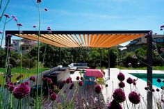 Modern Steel and Wood Pergola from Luginbuehl Company Wood Pergola, Fountain, Patio, Steel, Outdoor Decor, Wall, Modern, Home Decor, Glass Building