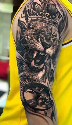 65 Tatuagens de leão Femininas e Masculinas Lion Forearm Tattoos, Lion Head Tattoos, Top Tattoos, Body Art Tattoos, Tatoos, Gangster Tattoos, Warrior Tattoos, Lion Tattoo Sleeves, Arm Sleeve Tattoos