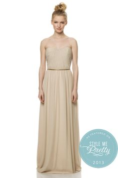 Champagne colored bridesmaids dress with gold belt - So cute!!