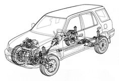 Front suspension diagram for HONDA CR-V RD Mk1 (4WD Wagon