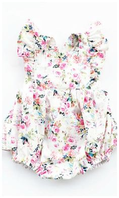 Pink Floral Bubble with Butt Ruffles & Flutter Sleeves Baby Girl Summer Romper Criss Cross Tie Back with Crotch Snaps #toddler #affiliate