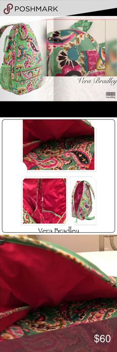 Vera Bradley  Tutti Frutti Tennis Sling Backpack This easy-wear sling tennis backpack by Vera Bradley features a tutti frutti color/paisley print. It fabric is diamond quilting and a mesh side pocket, compete with a zippered exterior pocket and roomy interior.  Zip-top closure Lining: Logo printed interior; top handle 1 back strap; Note: This item features a retired pattern. 12.25'' W x 20'' H x 5'' D Maximum strap length: 36.5'';Interior pockets: three slip ;Exterior pockets: one zip and…