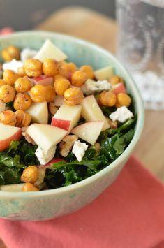 Kale Salad with Roasted Chickpeas and Apple-Miso Vinaigrette