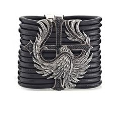 Scott Kay Ladies Black Leather Multi Strand SS Protecting The Cross Bracelet with Black Spinel. $1,495.