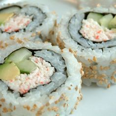 This is a simple way to eat all the sushi you want! This is also a great side dish for your Sunday afternoon football game.You can use any filling such as: scrambled eggs (cut lengthwise), any Deli Salad, Avocado, cucumber, pickled red ginger. Seafood Recipes, Cooking Recipes, Crab Rolls, Sushi Night, Asian Recipes, Easy Recipes, Healthy Recipes, Love Food, Food Porn