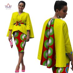 Aliexpress.com: Acheter Afrique Style Femmes Africain Vêtements Deux Pièces Ensemble Robe Costume pour Femmes Tops Veste et Jupe D'impression Bazin Riche Vêtements WY809 de women african clothing fiable fournisseurs sur Africa Style