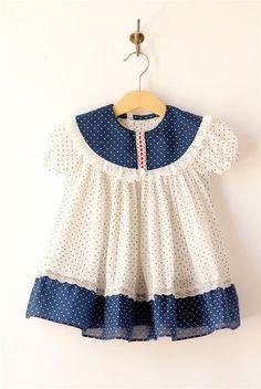 RESERVADO... vestido vintage pindot azul y blanco