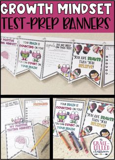 Growth Mindset Test Prep Banners are the perfect way to encourage and motivate your students during testing season. #growthmindset #growthmindsettestprep #testprep #testprepbanners