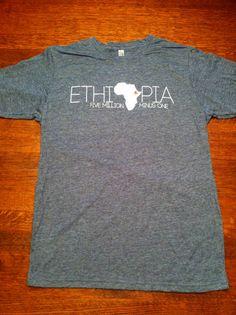 Ethiopia Adoption Charcoal Tshirt Tshirt  by FiveMillionMinusOne, $20.00
