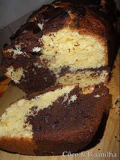 Cake Mármore de Chocolate e Côco