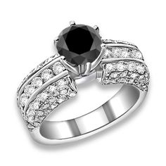 1.88 ctw 14k WG A Black, Accent H-I Color, SI  Clarity Diamonds Engagement Ring
