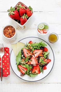 Strawberry Salad with Coconut Bacon & Black Pepper Vinaigrette from @Oh My Veggies