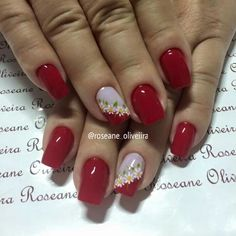 Uñas Red Nail Art, Red Nails, Fingernail Designs, Nail Art Designs, Shellac Nails, Acrylic Nails, Cute Nails, Pretty Nails, Flower Nails
