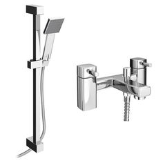 Think we need a spray over the bath, this is simple and sleek! Neo Bath Shower Mixer with Slider Rail Kit - Chrome Bath Shower Mixer Taps, Bath Taps, Shower Valve, Minimalist Baths, Wall Clips, Stainless Steel Hose, Nuts And Washers, Small Bathroom, Bathroom Ideas