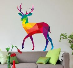 Get this amazing colourful deer as decoration for your home! Geometric Deer, Geometric Drawing, Multicoloured Wall Stickers, Colorful Drawings, Easy Drawings, Wall Stickers Wallpaper, Wall Stickers Animals, Polygon Art, Rainbow Art