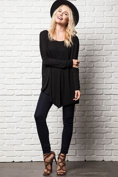 Fresh Take Asymmetrical Tunic Top - Black RESTOCKED!
