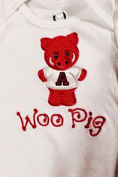 razorback pig applique onesie! woo pig!