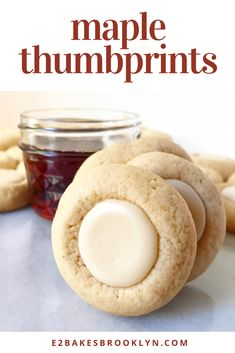 It may have been 90 degrees in NYC this past Monday, but nobody is happier than I am that fall is finally here, not least because it means I have an excuse to make these Maple Thumbprints. Cookie Desserts, Just Desserts, Cookie Recipes, Delicious Desserts, Yummy Food, Refrigerator Cookies Recipes, Cookie Favors, Baking Cookies, Baking Desserts