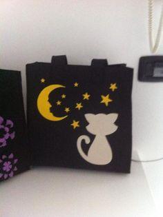 Borsa nera con sagoma di gatto in feltro : Altre borse di feltrocuorearte