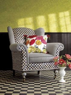 MacKenzie-Childs wing chair, I want this even more than my tuffet! Funky Furniture, Repurposed Furniture, Painted Furniture, Antique Furniture, Furniture Ideas, Mackenzie Childs Inspired, Black And White Chair, Chair Fabric, Chair Cushions