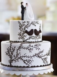 A small elegant wedding cake created by the Dewey's pastry chef team. Cake # 063.