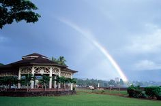 Mooheau County Park. Rain falls more than 270 days a year in Hilo, creating many chances to see large rainbows after showers.