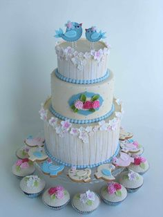 blue birds & blossoms with wedding cookies & cupcakes