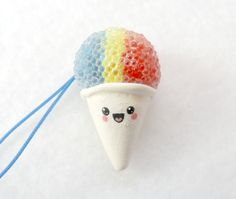 Kawaii Snow Cone Charm with Cell Phone Strap D by aLilBitOfCute, $4.99