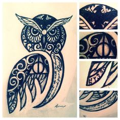 Owl tattoo with HP details