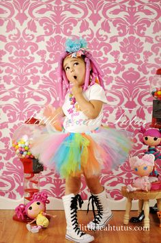 Lulu Lala Tutu - Fairy Rainbow Tutu, Pink Aqua Turquoise Lime Orange, Birthday Tutu, Halloween Costume, Girls Tutu, Infant Tutu, Photo Prop