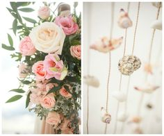Clearwater+Beach+Wedding+Ceremony+Seashell+and+Pastel+Pink+Floral+Decor