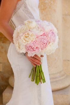 Pink  White Peony Bouquet by MarksGarden.com on #SMP here: http://www.StyleMePretty.com/2014/04/28/glamorous-garden-affair-in-beverly-hills/