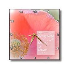Beauty Inspirational Quote Peach Poppy Flowers - Wall Clocks