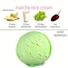 I love this nice cream sooooo matcha! . . All these are so easy to make just blend and add to the freezer  .  If you are have some matcha lying around this is a delicious and refreshing recipe to try it with. . For those who dont know what matcha is - its made by taking young green tea leaves and grinding them into a green tea powder. . Just like regular green tea matcha is high in antioxidants (but more potent). . . If you dont have matcha you can just make a classic nice cream recipe by…