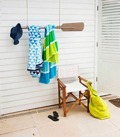 would be a good towel rack for the outdoor shower