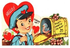 A young mailman finds a bluebird in a mailbox in this vintage Valentine.