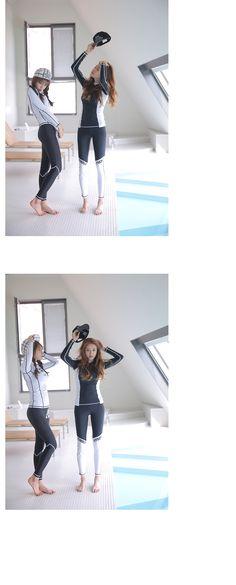 2016韩版新款防嗮长袖分体泳衣女黑白拼色长裤显瘦遮肚冲浪潜水服-淘宝网