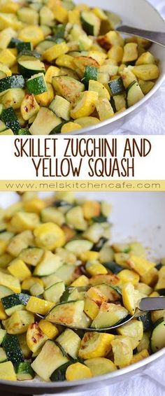 Skillet Zucchini and Yellow Squash This side dish is so quick and adaptable. We make it weekly in the summer!This side dish is so quick and adaptable. We make it weekly in the summer! Cooked Vegetable Recipes, Vegetable Korma Recipe, Vegetable Casserole, Vegetable Dishes, Vegetable Samosa, Vegetable Spiralizer, Spiralizer Recipes, Vegetable Pizza, Veggie Recipes Sides
