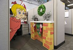 Christmas Cubicle Decorations Who Office Decorating Ideas Christmas Cubicle Decorations, Christmas Themes, Halloween Decorations, Office Decorations, Outdoor Decorations, Christmas Parties, Xmas Party, Table Decorations, Whoville Christmas