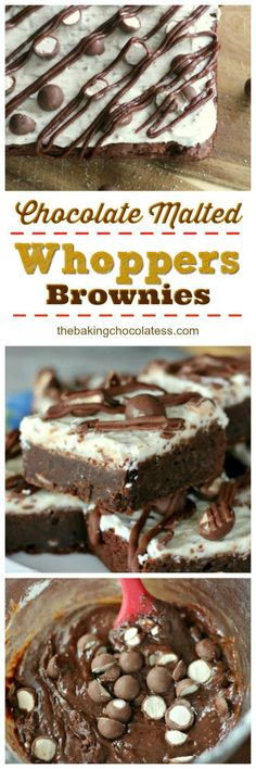 Triple Chocolate Malted Whoppers Brownies via @https://www.pinterest.com/BaknChocolaTess/