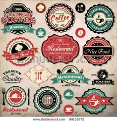 "stock vector : Collection of vintage retro grunge coffee and restaurant labels, badges and icons. I like the top middle one (black and red ""Coffee"") Retro Vintage, Vintage Labels, Vintage Images, Vintage Signs, Grunge, Camera Clip Art, Coffee Restaurants, Apple Art, Coffee Logo"