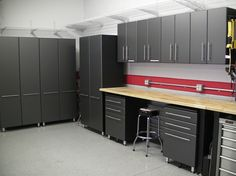 [googlebotnoindex] This Nine Piece Set of Garage Storage Cabinets are constructed of polyurethane coated MDF (multi-density fiberboard) for durability and fe