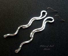 Hammered aluminum earrings lightweight by PillarOfSaltStudio