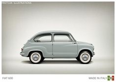 Firstcar Illustrations | Personalized Car Illustrations | Fiat 600 1956